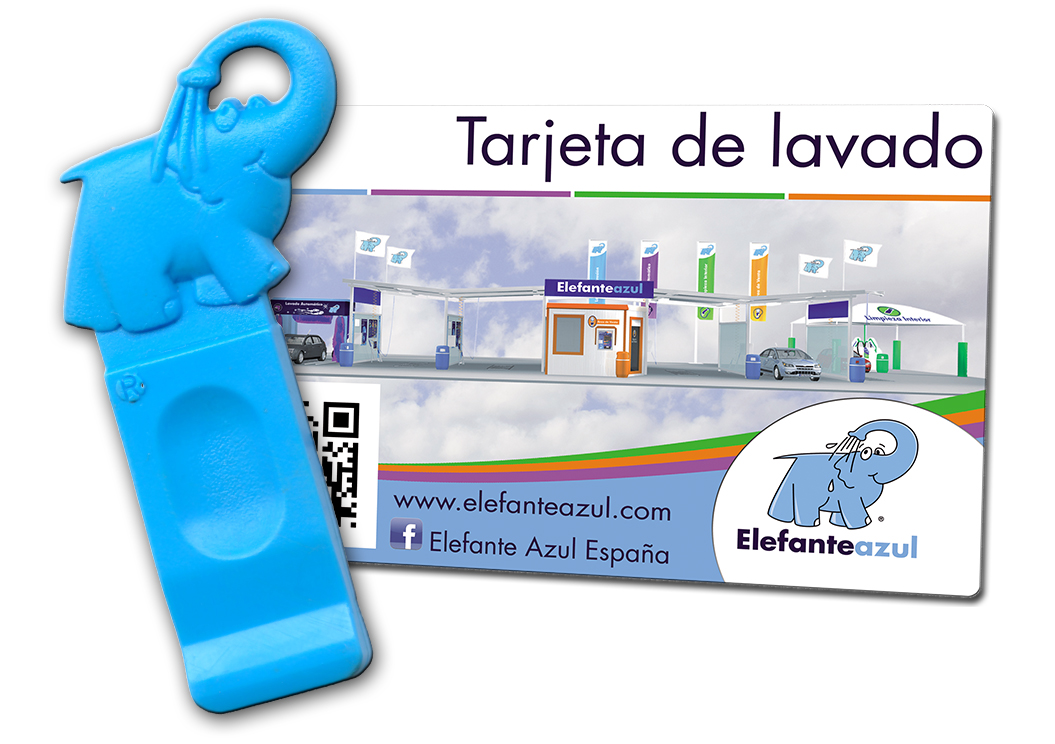 Tarjeta/Llave de lavado Elefante Azul