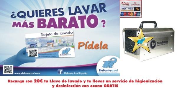 Recarga 20€ en tu Tarjeta de lavado Elefante Azul y realiza gratis un servicio de desodorización y desinfección del interior de tu vehículo.