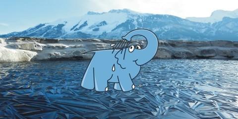 Elefante Azul Valdepeñas - Placas de hielo chocan contra tierra firme - Centro de lavado de coches Elefante Azul Valdepeñas
