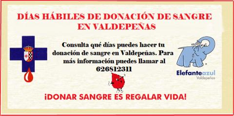 Elefante Azul Valdepeñas - Días hábiles de donación de sangre en Valdepeñas 2018